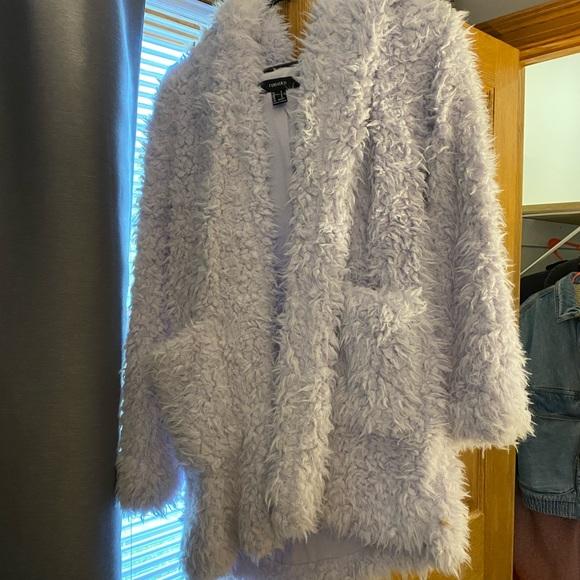 Lavender long teddy coat